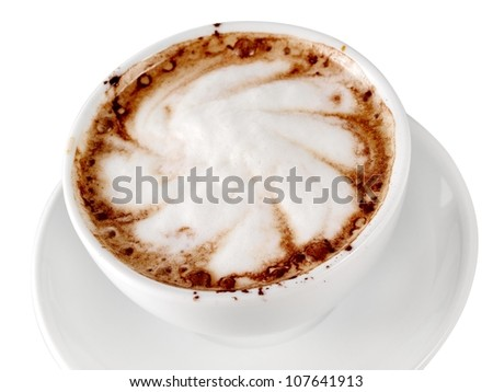 Cup with cappuccino - stock photo
