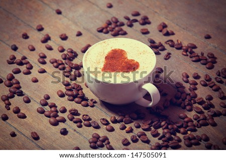 Cup with coffee and shape of the cacao heart on it.