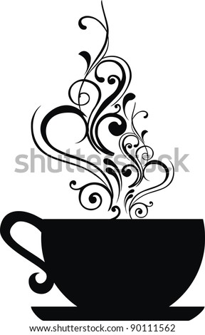Cup with floral design elements.  illustration.