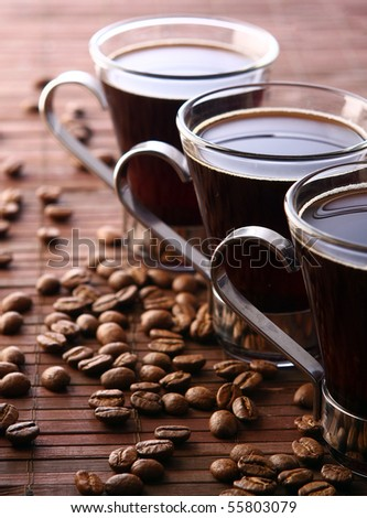 cup with fresh and tasty black coffee