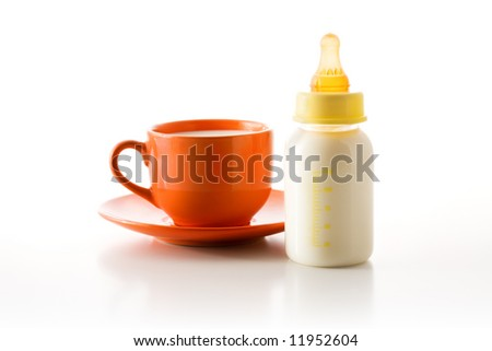 Cup with milk and a bottle with a baby's dummy