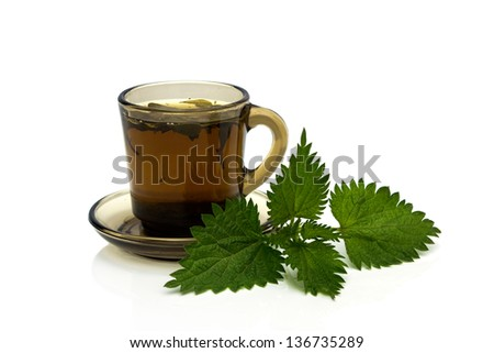 Cup with nettles tea and green nettles leaves.