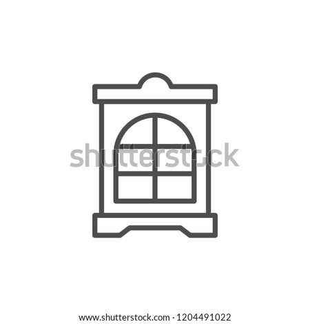 Cupboard line icon isolated on white