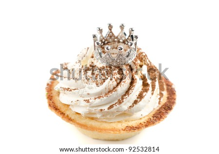 cupcake and bijouterie jewelry crown on a white background