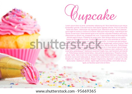 Cupcake and decorating bag on a white table with colorful sugar perls on white background