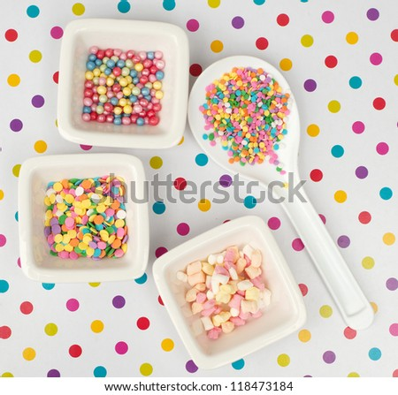 cupcake sprinkles on a dotted background