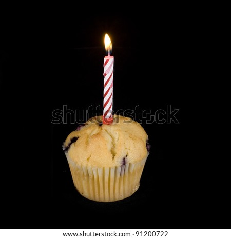 cupcake with a single lit candle on top