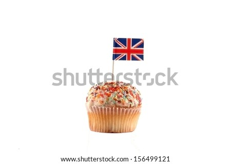 Cupcake with British Flag on the white background