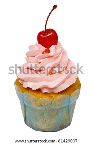 Cupcake with cherry isolated on a white background
