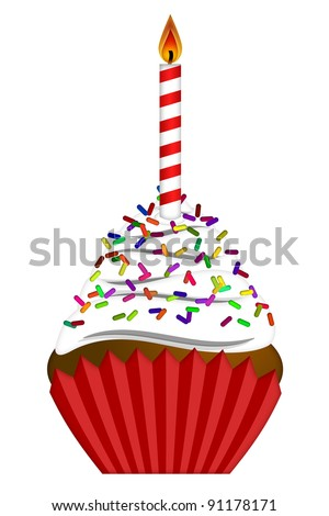 Cupcake with Colorful Chocolate Chip Sprinkles  and Candle Isolated on White Background