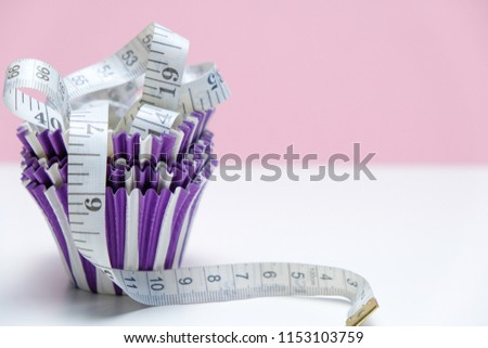 Cupcake With Measuring Tape Minimal Style Pastel Colors Concept Of Diet And Healthy