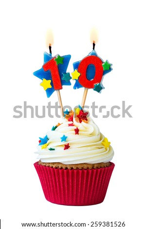Cupcake with number ten candles