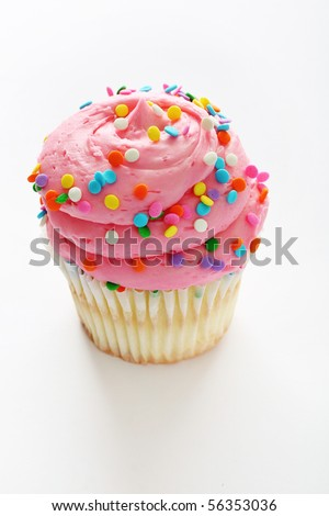 Cupcake with pink frosting and sprinkles vertical