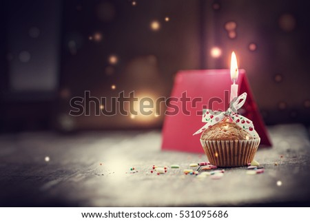 Cupcake with present gifts - happy birthday card/ Holidays greeting card