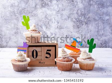 Cupcakes for celebrating Mexican fiesta or Cinco de mayo #1345415192