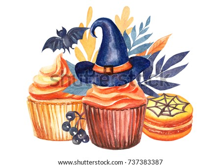 cupcakes or muffins with halloween party, composition with colorful leaves, berries of black mountain ash,  macaroni, bat, witch hat, autumn watercolor illustration.