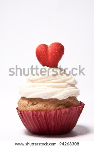 Cupcakes with a red heart on top