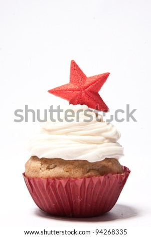 Cupcakes with a red star on top