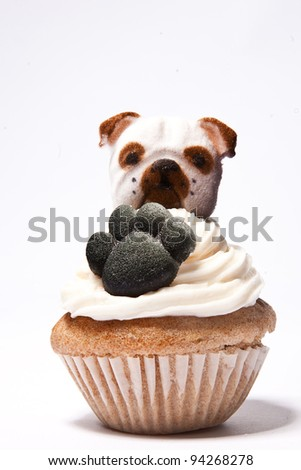 Cupcakes with Paw print and an English Bulldog on top