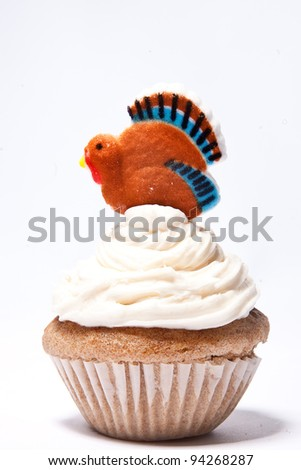 Cupcakes with Thanksgiving Turkey on top