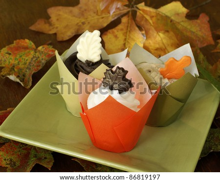 Cupcakes with vanilla, coffee, and chocolate frosting. Decorate with chocolate leaves.