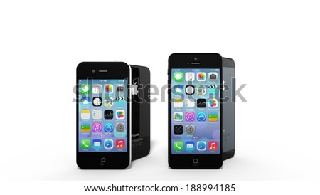 CUPERTINO, USA - APRIL 2014: An iPhone 4 and iPhone 5 on display. Rumors on the iPhone 6 are rising with more and more revelations about the new design and form factor.