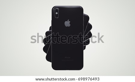 CUPERTINO, USA - 17 August 2017: Apple iPhone 8 3D Illustration with Apple Inc logo Illustrative Editorial Image