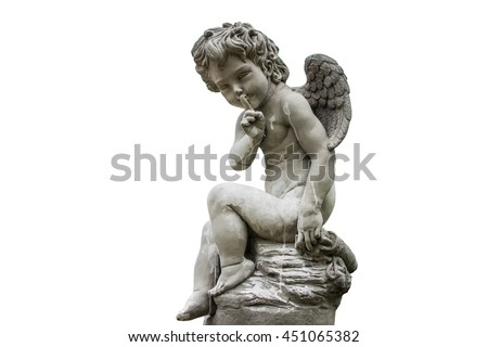 cupid of love statue isolated