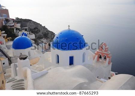 Cupolas with the Caldera in Santorini
