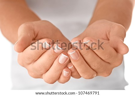 Cupped empty hands over body background.