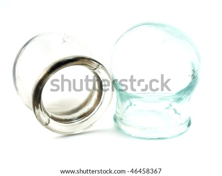 Cupping glasses over white