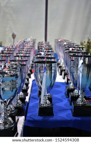 cups and prizes at a sports competition #1524594308