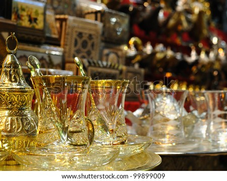 Cups of tea in Turkey. Grand Market.