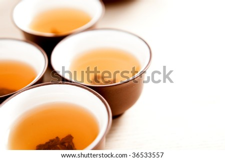 Cups of traditional jasmine tea.