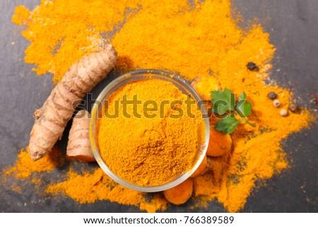 Shutterstock curcuma, powder and root