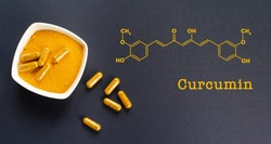Curcumin skeletal chemical formula with a photo of yellow turmeric root powder and capsules on a black background, top view.