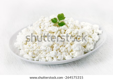 Curd cheese on white plate, close up view
