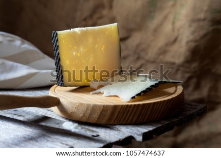 Cured cheese on board