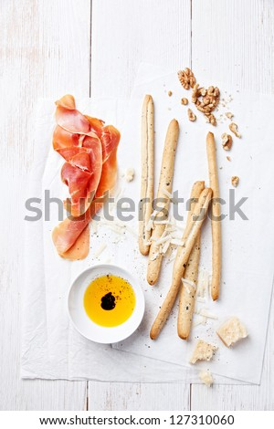 Cured Meat, Cheese and bread sticks