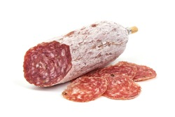 Cured salami sausage, Italian cuisine, isolated on white background.