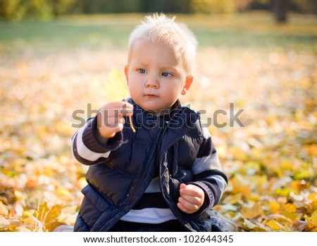 Curious about nature, cute young boy observing autumn leaf. - stock photo