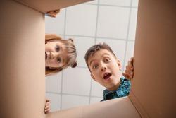Curious children looking inside cardboard box, bottom view