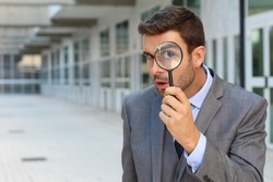 Curious man discovering something amazing
