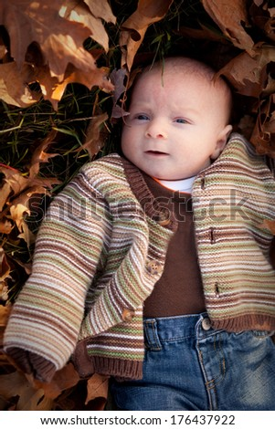 Curious newborn baby boy surrounded by fall leaves in a striped sweater and blue jeans