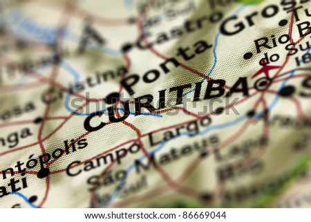 Curitiba in Brazil on the Map.