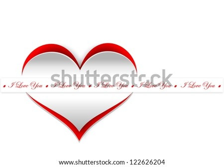 Curl paper heart, Valentines day card