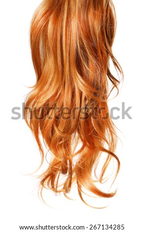 curl  Red Hair isolated on white background