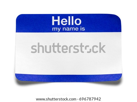 Curled Blue Hello Name Tag Isolated on White Background.