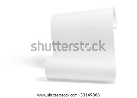 Curled Up Paper on White Background