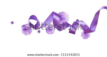 Curled violet silk ribbon watercolor blots isolated on white background. Color of the year. #1111542815